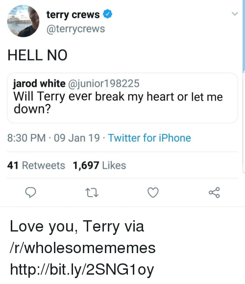 Iphone, Love, and Terry Crews: terry crews  @terrycrews  HELL NO  jarod white @junior198225  Will Terry ever break my heart or let me  down?  8:30 PM 09 Jan 19 Twitter for iPhone  41 Retweets 1,697 Likes Love you, Terry via /r/wholesomememes http://bit.ly/2SNG1oy