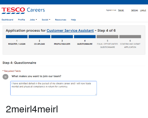 Tesco Careers Signed In As Daniel Settings Losout Dashboard Profile