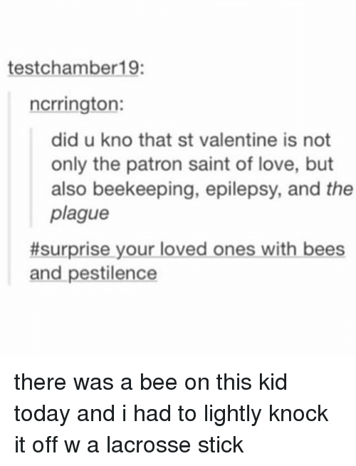 Lacrosse, Bees, and Black Twitter: test chamber 19:  ncrrington:  did u kno that st valentine is not  only the patron saint of love, but  also beekeeping, epilepsy, and the  plague  #surprise your loved ones with bees  and pestilence there was a bee on this kid today and i had to lightly knock it off w a lacrosse stick