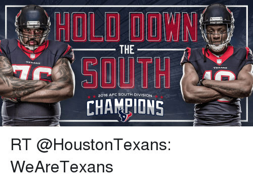 ecdfec35 TEXANS WIN THE 2016 AFC SOUTH DIVISION CHAMPIONS TEXANS RT ...