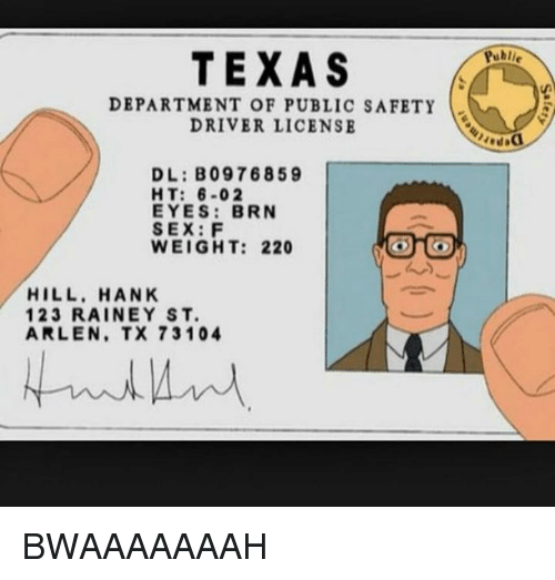 texas department of public safety driver license dl b097 6859 ht 6