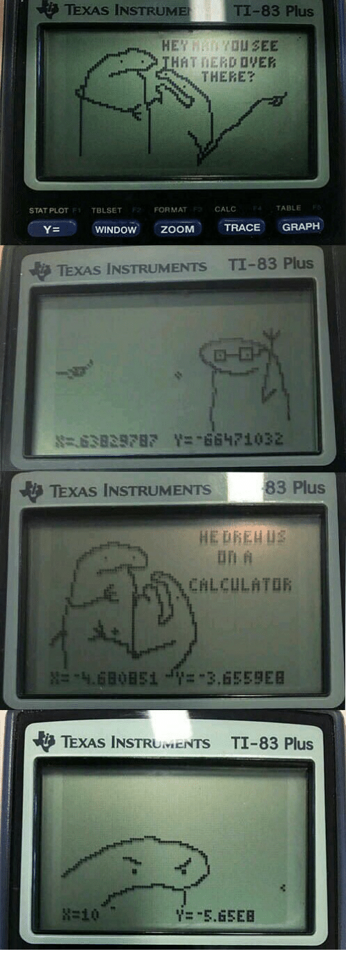 Zoom, Calc, and Texas: TexAs INSTRUME  TI-83 Plus  THERE  CALC  TABLE  STAT PLOT  F1 TBLSET  F2 FORMAT  TRACE GRAPH  Y-  WINDOW  ZOOM  TExAs INSTRUMENTs TI-83 Plus  83 Plus  TEXAS INSTRUMENTS  TExAs INSTR  TI-83 Plus  UMENTS in