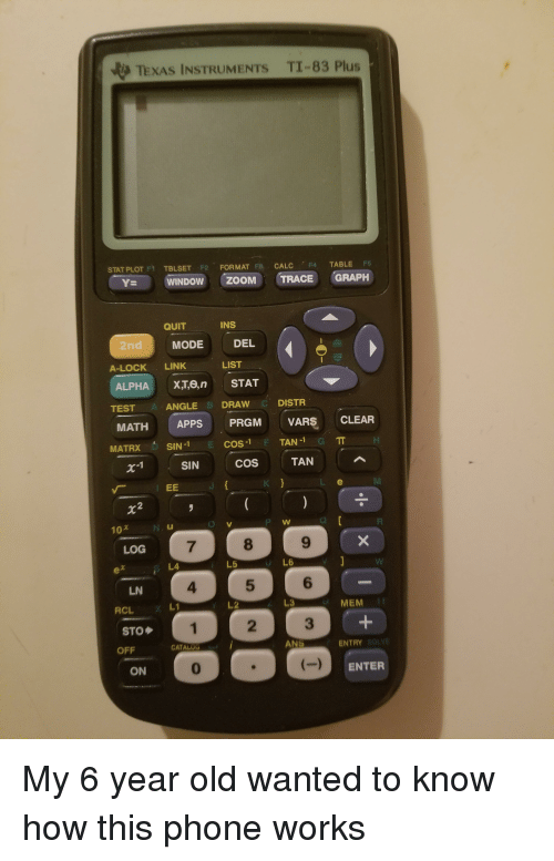 Phone, Formation, and Zoom: TEXAS INSTRUMENTs TI-83 Plus  STAT PLOT FY  TBLSET F2 Fa CALC  F4  TABLE  F5  FORMAT  ZooM TRACE GRAPH  WINDOW INS  QUIT  DEL  MODE  LIST  A-LOCK  LINK  ALPHA  XT, en STAT  DISTR  ANGLE  B DRAW  TEST  APPS  PRGM  VARS  CLEAR  MATH  TAN-1  COS-1  MATRX  SIN-1  TAN  COS  SIN  EE  LOG  L6  L5  LN  MEM  RCL  STO  ENTRY  ANS  CATAL  OFF  ENTER  ON