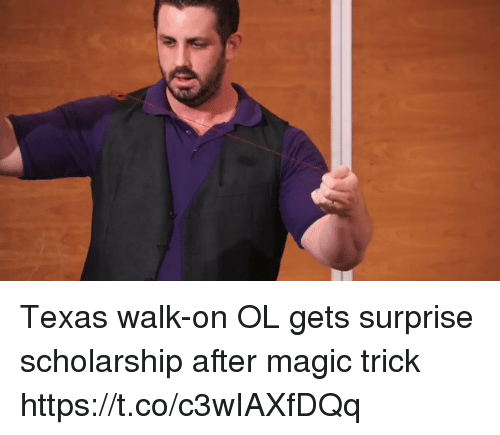 Magic, Texas, and Surprise: Texas walk-on OL gets surprise scholarship after magic trick https://t.co/c3wIAXfDQq