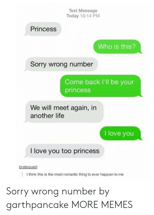 Dank, Life, and Love: Text Message  Today 10:14 PM  Princess  Who is this?  Sorry wrong number  Come back I'll be your  princesS  We will meet again, in  another life  I love you  I love you too princess  bratsquad:  I think this is the most romantic thing to ever happen to me Sorry wrong number by garthpancake MORE MEMES
