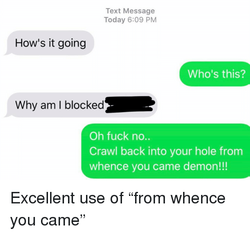 "Relationships, Texting, and Fuck: Text Message  Today 6:09 PM  How's it going  Who's this?  Why am I blocked  Oh fuck no..  Crawl back into your hole from  whence you came demon!!! Excellent use of ""from whence you came"""