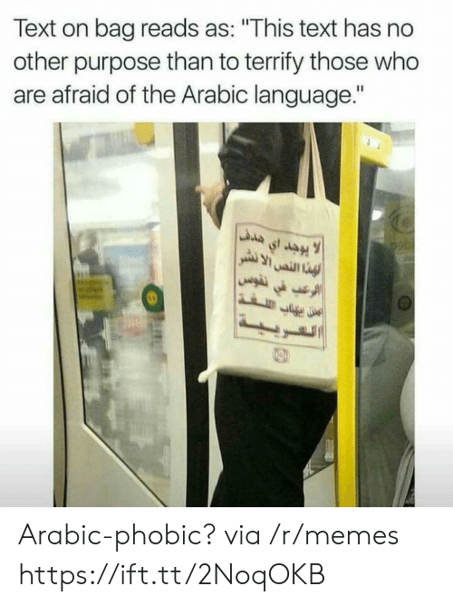 """Memes, Text, and Arabic (Language): Text on bag reads as: """"This text has no  other purpose than to terrify those who  are afraid of the Arabic language."""" Arabic-phobic? via /r/memes https://ift.tt/2NoqOKB"""