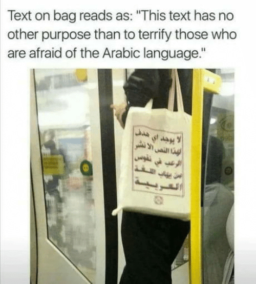 """Text, Arabic (Language), and Who: Text on bag reads as: """"This text has no  other purpose than to terrify those who  are afraid of the Arabic language."""""""