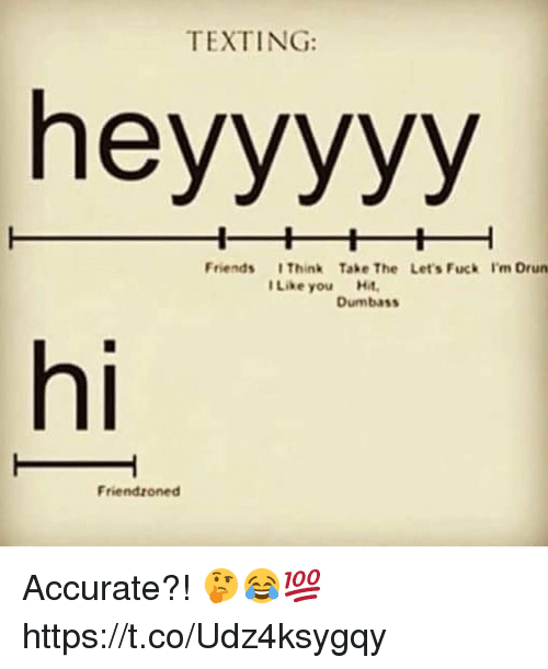 Friends, Memes, and Texting: TEXTING:  heyyyyy  Friends I Think Take The Let's Fuck I'm Drun  I Like you Hit  Dumbass  hi  Friendzoned Accurate?! 🤔😂💯 https://t.co/Udz4ksygqy