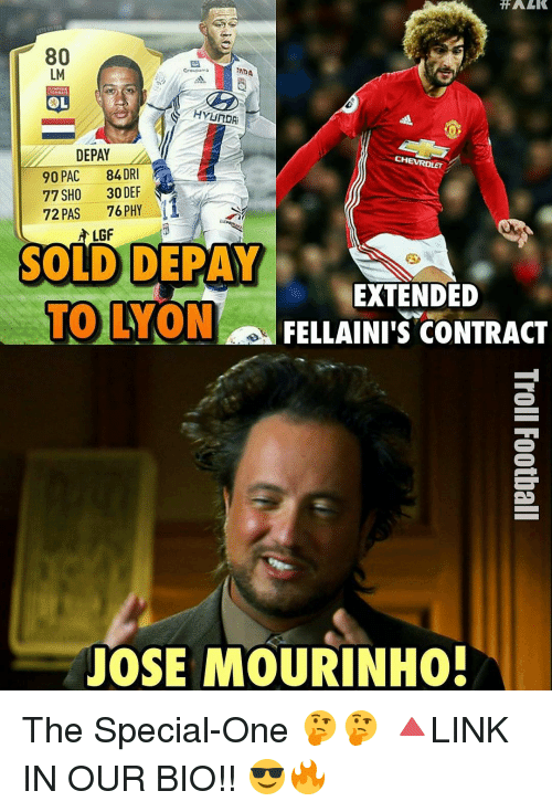 Memes, Chevrolet, and José Mourinho: TFALK  80  LM  RADA  Groupama  HYUROR  DEPAY  CHEVROLET  90 PAC  84 DRI  77 SHO 30 DEF  72 PAS  76 PHY  LGF  SOLID DEPAY  EXTENDED  TO YONn FELLAINIIS CONTRACT  JOSE MOURINHO! The Special-One 🤔🤔 🔺LINK IN OUR BIO!! 😎🔥