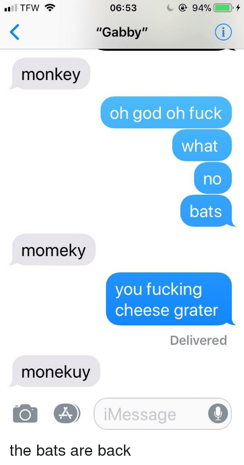 """Fucking, God, and Tfw: TFW  06:53  """"Gabby""""  monkey  oh god oh fuck  what  no  bats  momeky  you fucking  cheese grater  Delivered  monekuy  iMessage"""
