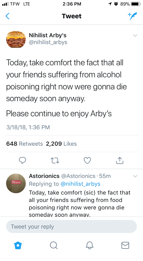 tfw lte 236 pm tweet nihilist arby s arbys today take comfort the
