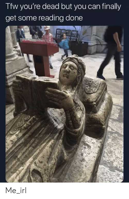Tfw, Irl, and Me IRL: Tfw you're dead but you can finally  get some reading done Me_irl