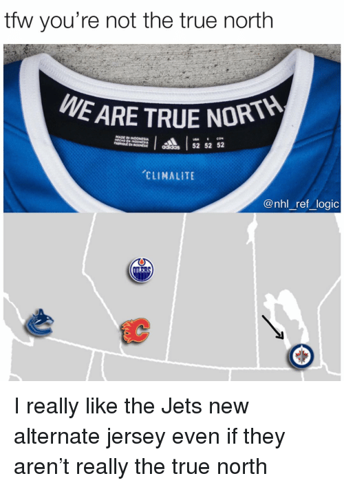 Logic, Memes, and National Hockey League (NHL): tfw you're not the true north  E ARE TRUE NORT  addas 52 52 52  CLIMALITE  @nhl _ref logic I really like the Jets new alternate jersey even if they aren't really the true north