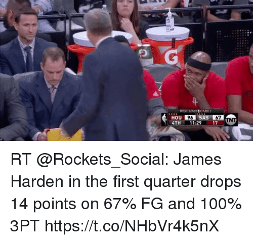 Sizzle: TH 11:29 17N RT @Rockets_Social: James Harden in the first quarter drops 14 points on 67% FG and 100% 3PT https://t.co/NHbVr4k5nX
