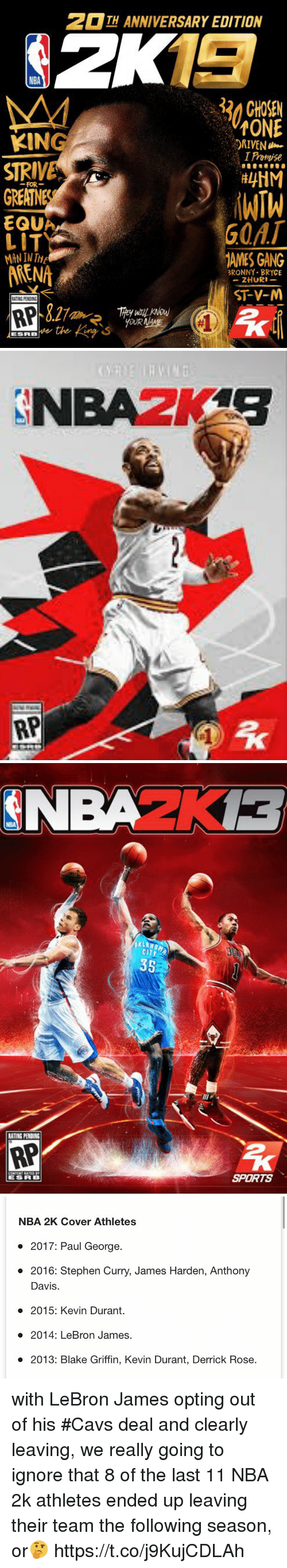 Blake Griffin, Cavs, and Derrick Rose: TH ANNIVERSARY EDITION  NBA  3 CHOSEN  TONE  RIVEN  I Promise  KING  STRIVE  GREATNES  EQUA  LIT  FOR-  G0AT  AMES GANG  MAN IN T  ARENA  BRONNY- BRYCE  -ZHURI_  ST-V-M  RATING PENDING   NBA  RATING PENDING  RP  SPORTS   NBA 2K Cover Athletes  . 2017: Paul George.  . 2016: Stephen Curry, James Harden, Anthony  Davis  2015: Kevin Durant.  o 2014: LeBron James.  2013: Blake Griffin, Kevin Durant, Derrick Rose. with LeBron James opting out of his #Cavs deal and clearly leaving, we really going to ignore that 8 of the last 11 NBA 2k athletes ended up leaving their team the following season, or🤔 https://t.co/j9KujCDLAh