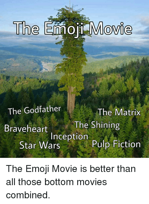 Emoji, Inception, and Movies: Th  e Emoji Movie  The Godfather  The Matrix  Braveheart  The Shining  Inception  Star Wars  Pulp Fiction