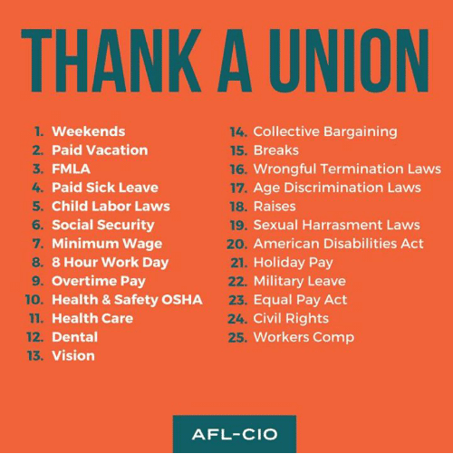 Memes Work And Vision Thank A Union Collective Bargaining Breaks Wrongful Termination Laws