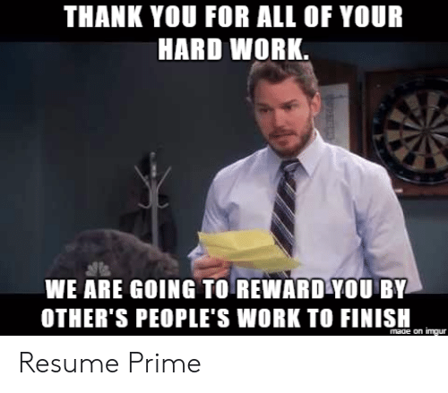 Funny Thank You MeMe For Work