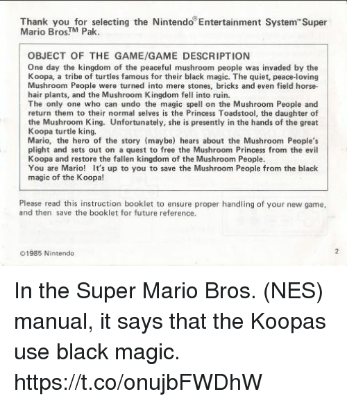 Thank You For Selecting The Nintendo Entertainment System Super