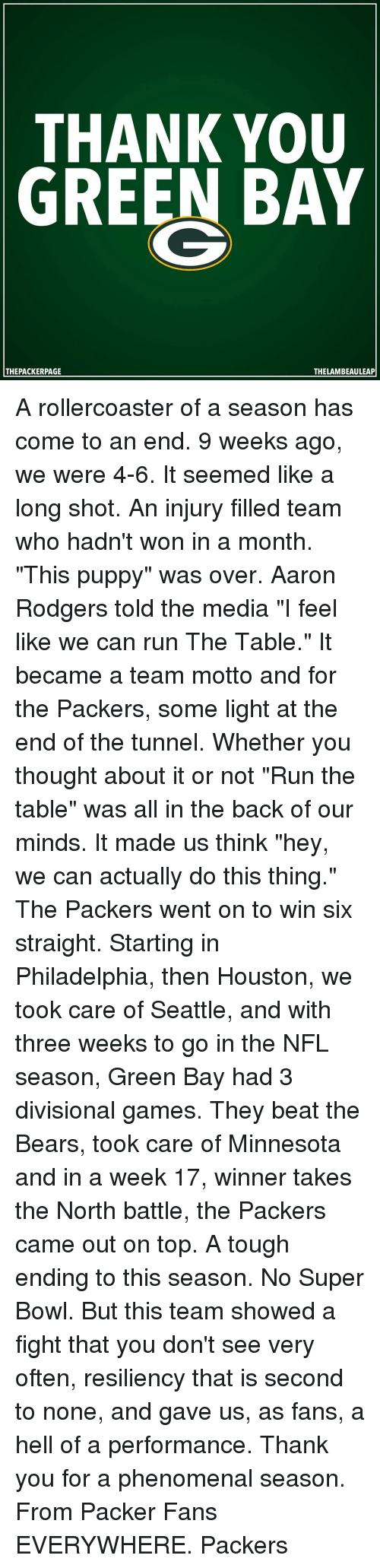 """Aaron Rodgers, Memes, and Phenomenal: THANK YOU  GREEN BAY  THE PACKERPAGE  THELAMBEAULEAP A rollercoaster of a season has come to an end. 9 weeks ago, we were 4-6. It seemed like a long shot. An injury filled team who hadn't won in a month. """"This puppy"""" was over. Aaron Rodgers told the media """"I feel like we can run The Table."""" It became a team motto and for the Packers, some light at the end of the tunnel. Whether you thought about it or not """"Run the table"""" was all in the back of our minds. It made us think """"hey, we can actually do this thing."""" The Packers went on to win six straight. Starting in Philadelphia, then Houston, we took care of Seattle, and with three weeks to go in the NFL season, Green Bay had 3 divisional games. They beat the Bears, took care of Minnesota and in a week 17, winner takes the North battle, the Packers came out on top. A tough ending to this season. No Super Bowl. But this team showed a fight that you don't see very often, resiliency that is second to none, and gave us, as fans, a hell of a performance. Thank you for a phenomenal season. From Packer Fans EVERYWHERE. Packers"""