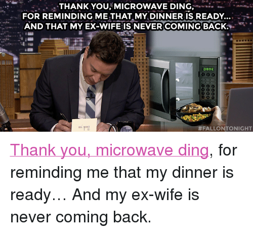 THANK YOU MICROWAVE DING -*- FOR REMINDING ME THAT MY DINNER IS