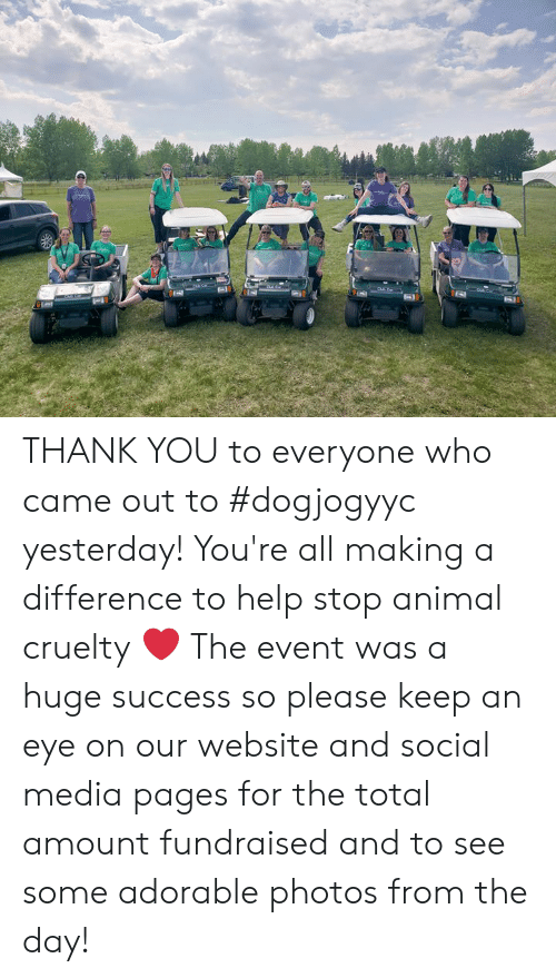 Memes, Social Media, and Thank You: THANK YOU to everyone who came out to #dogjogyyc yesterday! You're all making a difference to help stop animal cruelty ❤ The event was a huge success so please keep an eye on our website and social media pages for the total amount fundraised and to see some adorable photos from the day!
