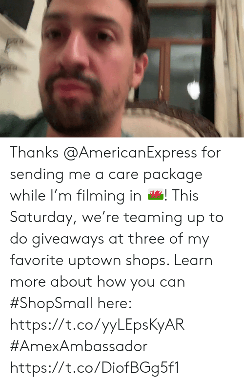 Memes, 🤖, and How: Thanks @AmericanExpress for sending me a care package while I'm filming in 🏴! This Saturday, we're teaming up to do giveaways at three of my favorite uptown shops. Learn more about how you can #ShopSmall here: https://t.co/yyLEpsKyAR #AmexAmbassador https://t.co/DiofBGg5f1