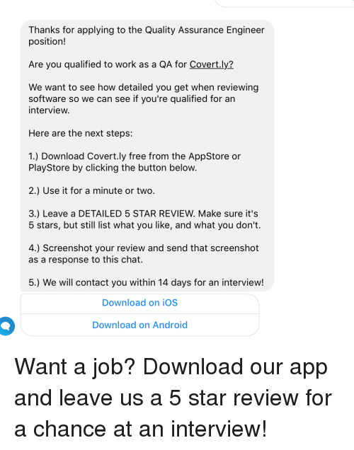 android work and chat thanks for applying to the quality assurance engineer position