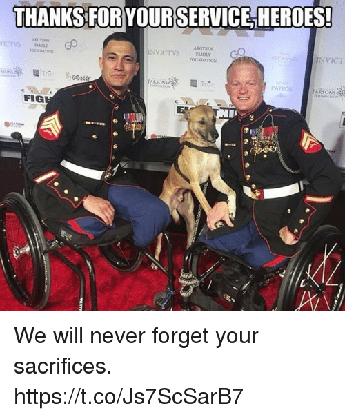 Family, Memes, and Never: THANKS FOR YOURSERVICEHEROES!  ARGYROS  ICEVSFAMIL  NVICTVS FAMILY  NVICT  OUNDATIos  FOUNDATION  PARSONS  PATRON  PARSONS  CL  FIG We will never forget your sacrifices. https://t.co/Js7ScSarB7
