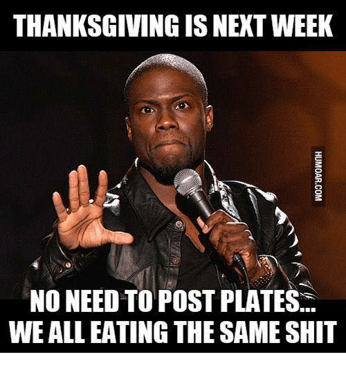 Dank, Shit, and Thanksgiving: THANKSGIVING IS NEXT WEEK  NO NEED TO POST PLATES  WE ALL EATING THE SAME SHIT