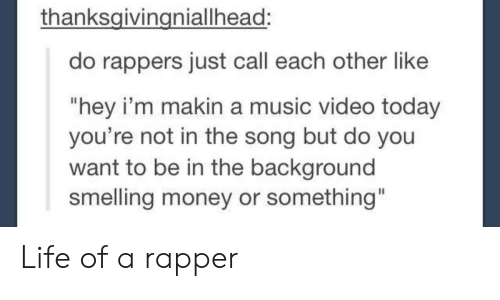 """Life, Money, and Music: thanksgivingniallhead:  do rappers just call each other like  """"hey i'm makin a music video today  you're not in the song but do you  want to be in the background  smelling money or something"""" Life of a rapper"""