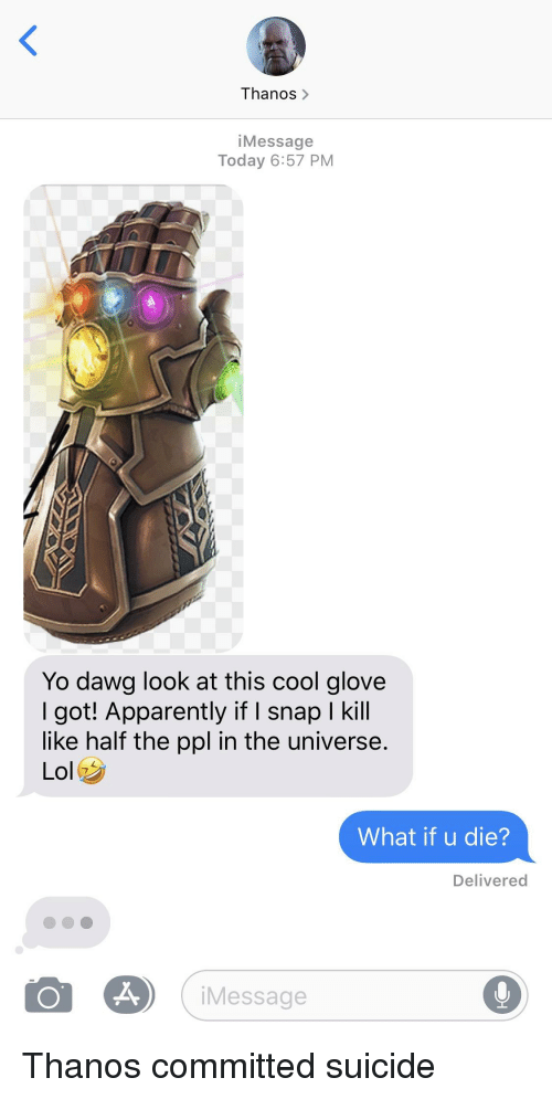 Thanos> iMessage Today 657 PM Yo Dawg Look at This Cool