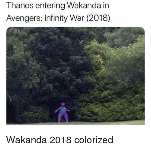 Avengers, Infinity, and Thanos: Thanos entering Wakanda in  Avengers: Infinity War (2018) Wakanda 2018 colorized