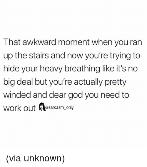Funny, God, and Memes: That awkward moment when you ran  up the stairs and now you're trying to  hide your heavy breathing like it's no  big deal but you're actually pretty  winded and dear god you need to  work out @sarcasm_only (via unknown)
