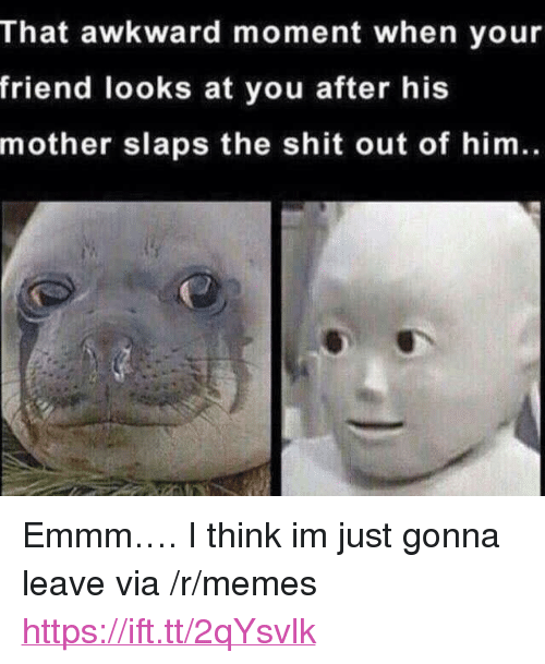 """Memes, Shit, and Awkward: That awkward moment when your  friend looks at you after his  mother slaps the shit out of him. <p>Emmm…. I think im just gonna leave via /r/memes <a href=""""https://ift.tt/2qYsvlk"""">https://ift.tt/2qYsvlk</a></p>"""