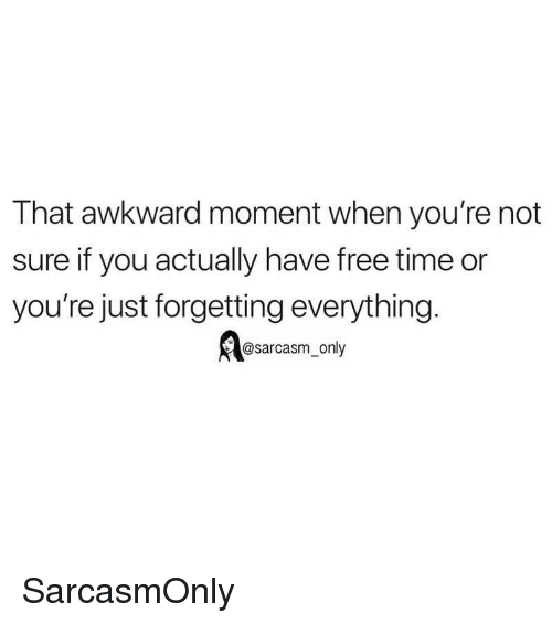 Funny, Memes, and Awkward: That awkward moment when you're not  sure if you actually have free time or  you're just forgetting everything.  @sarcasm only SarcasmOnly