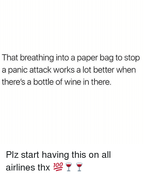 Memes, Wine, and 🤖: That breathing into a paper bag to stop  a panic attack works a lot better when  there's a bottle of wine in there. Plz start having this on all airlines thx 💯🍷🍷
