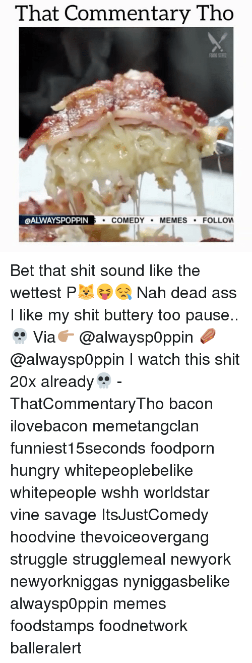 Hungry, Memes, and Struggle: That Commentary Tho  QALWAYSPOPPIN  COMEDY  MEMES  FOLLOW Bet that shit sound like the wettest P🐱😝😪 Nah dead ass I like my shit buttery too pause..💀 Via👉🏽 @alwaysp0ppin ⚰️ @alwaysp0ppin I watch this shit 20x already💀 - ThatCommentaryTho bacon ilovebacon memetangclan funniest15seconds foodporn hungry whitepeoplebelike whitepeople wshh worldstar vine savage ItsJustComedy hoodvine thevoiceovergang struggle strugglemeal newyork newyorkniggas nyniggasbelike alwaysp0ppin memes foodstamps foodnetwork balleralert