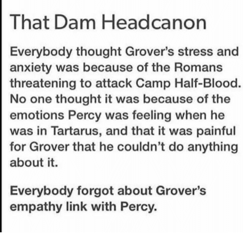 That Dam Headcanon Everybody Thought Grover's Stress and