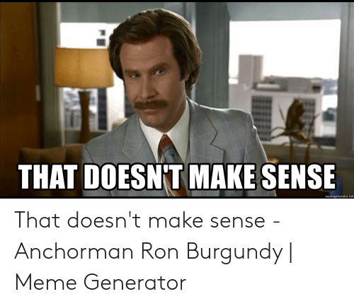 Anchorman, Meme, and Ron Burgundy: THAT DOESN'T MAKE SENSE  memegenerator.net That doesn't make sense - Anchorman Ron Burgundy   Meme Generator