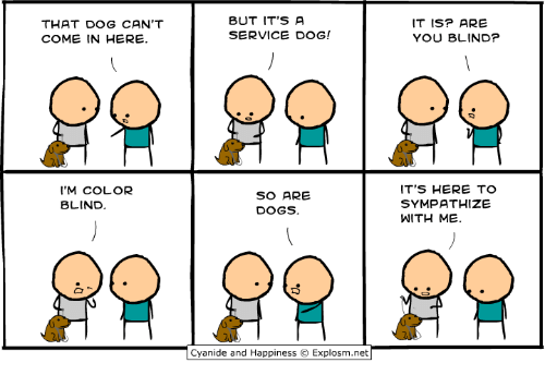 Dank, Dogs, and Happiness: THAT DOG CAN'T  COME IN HERE.  BUT IT'S A  SERVICE DOG!  IT ISP ARE  YOU BLIND?  'M COLOR  BLIND  SO ARE  DOGS.  ITS HERE TO  SYMPATHIZE  WITH ME.  Cyan.de and Happiness © Explosm.net「