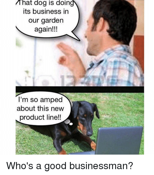 Reddit, Business, and Good: That dog is doin  its business in  our garden  again!!!  I'm so amped  about this new  product line!!