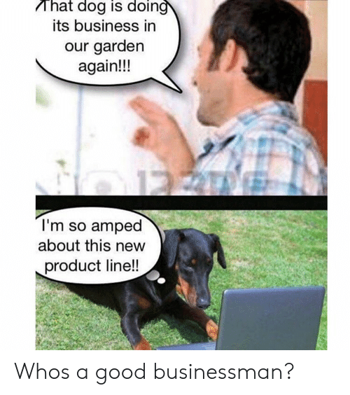 Business, Good, and Dog: That dog is doin  its business in  our garden  again!!!  I'm so amped  about this new  product line!! Whos a good businessman?