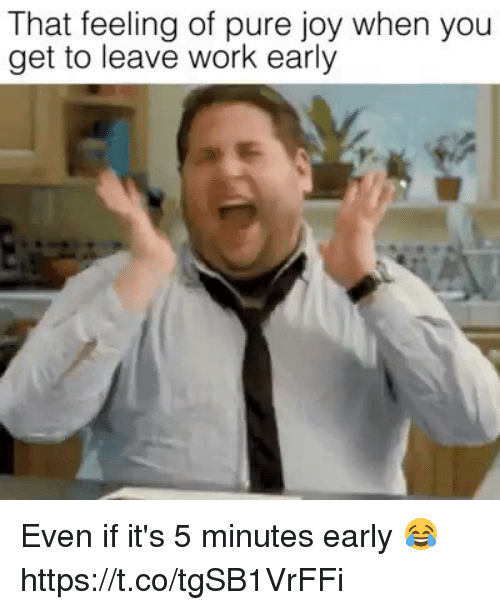 Leaving Work Early Funny Meme : That feeling of pure joy when you get to leave work early