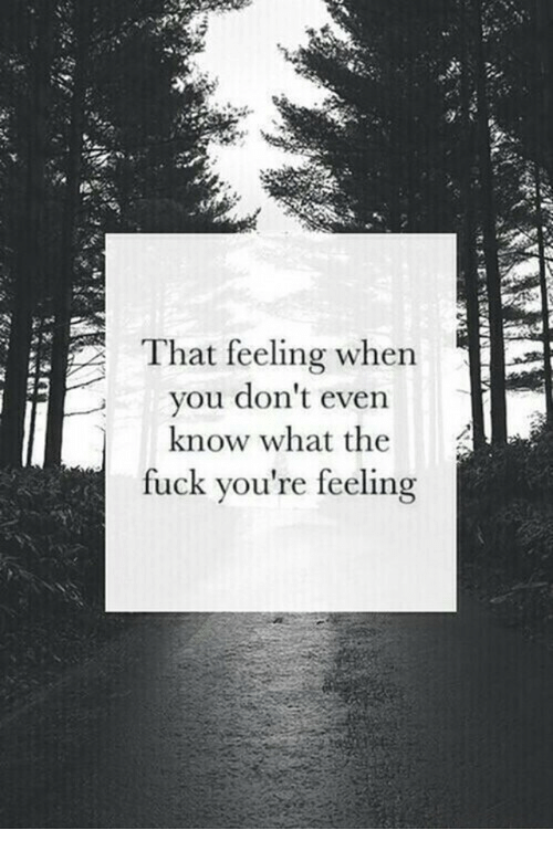 Fuck, That Feeling When, and What: That feeling when  vou don't even  know what the  fuck you're feeling