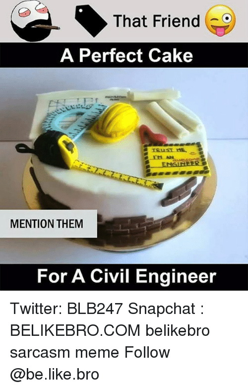 Be Like, Meme, and Memes: That Friend  A Perfect Cake  MENTION THEM  For A Civil Engineer Twitter: BLB247 Snapchat : BELIKEBRO.COM belikebro sarcasm meme Follow @be.like.bro