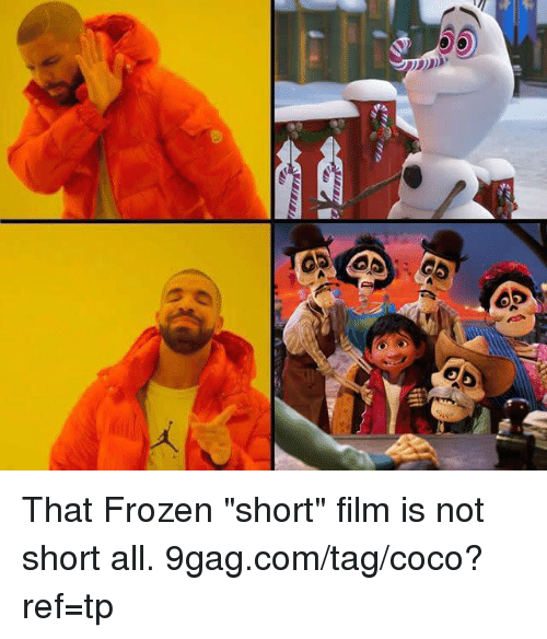 """9gag, CoCo, and Dank: That Frozen """"short"""" film is not short all. 9gag.com/tag/coco?ref=tp"""