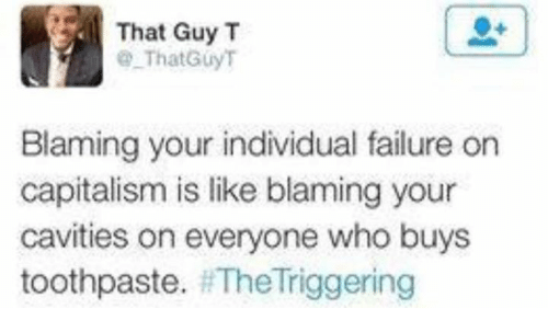 Memes, Capitalism, and Failure: That Guy T  That Guy T  Blaming your individual failure on  capitalism is like blaming your  cavities on everyone who buys  toothpaste.  The Triggering