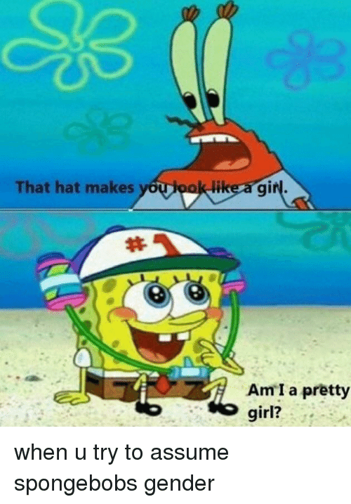 SpongeBob, Girl, and Gender: That hat makes  likera gir  Am I a pretty  girl?